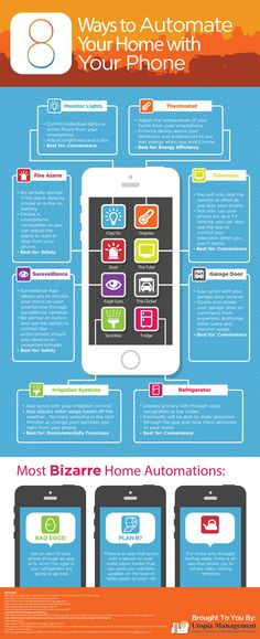 "Learn about the recent advances in home automation technology with our infographic, Ways to Automate Your Home with Your Phone"". Home Gadgets, Tech Gadgets, Technology Gadgets, Smart Home Ideas, Smartphone, Smart Home Technology, Teaching Technology, Smart Home Automation, Smart Home"