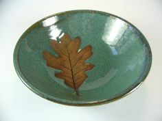 Pottery Bowl with Oak Leaf Imprint Wheel Thrown by SeagrapesStudio, $26.00