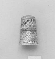 Thimble Date: 1577 Culture: German, probably Nuremberg Medium: Silver partly gilt, enamel Sewing Kit, Sewing Tools, Sewing Projects, 17th Century Clothing, Sewing Equipment, Vintage Buttons, 16th Century, Makers Mark, Dungeons And Dragons