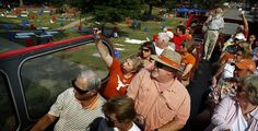 Texas fans riding the double decker through the Grove on Friday afternoon before Ole Miss/Texas game.