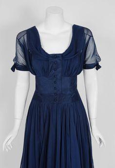 1955 Jean Desses Haute-Couture Navy Silk Chiffon Sculpted Shelf-Bust Party Dress image 2
