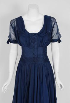 1955 Jean Desses Haute-Couture Navy Silk Chiffon Sculpted Shelf-Bust Party Dress image 2
