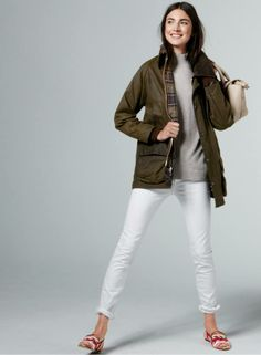 barbour + white jeans
