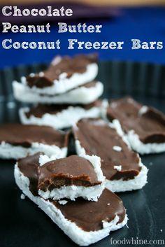 Chocolate Peanut Butter Coconut Freezer Bars - OMG!!! Vegan, low sugar, gluten free