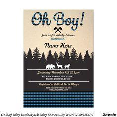 Oh Boy Baby Lumberjack Baby Shower Blue Invite