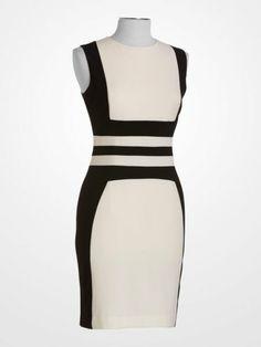 119806f43466 Calvin Klein Black & Ivory Dress $59.99 #colorblock #geometric #stripe  #blackandwhite #designer #deal #fashion