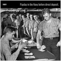 The crew of a US Navy cruiser standing in line to be paid during WWII, Navy Military, Military Humor, Military History, Military Quotes, Military Personnel, Navy Day, Go Navy, Vintage Sailor, Navy Life