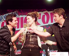 Sean Maher, Jewel Staite and Nathan Fillion