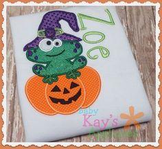 Baby Kay's Appliques - Silly Frog on a Pumpkin 5x7, 6x10, 8x8, $1.00 (http://www.babykaysappliques.com/silly-frog-on-a-pumpkin-5x7-6x10-8x8/)