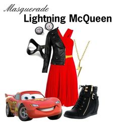 """""""Masquerade: Lightning McQueen"""" by jivy44 ❤ liked on Polyvore featuring BCBGMAXAZRIA, Masquerade, VIPARO, Jan Leslie, Top Moda and Bling Jewelry"""