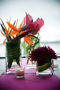 reception floral details - tropical floral arrangements including dark pink and orange birds of paradise - photo by Portland wedding photographer Barbie Hull Tropical Centerpieces, Tropical Flower Arrangements, Wedding Arrangements, Wedding Centerpieces, Wedding Table, Centerpiece Ideas, Table Centerpieces, Exotic Flowers, Tropical Flowers