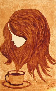 Spirit of Coffee. Coffee art.  There is an entire board dedicated to this: http://pinterest.com/fineartfashion/coffee-painting/ So cute!