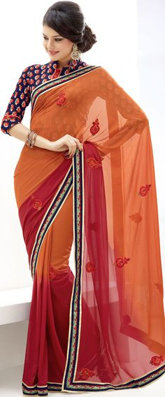Orange Georgette #New #Saree Blouse #Design | @ $ 48.25
