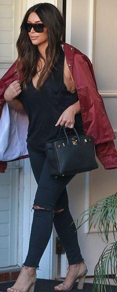 Kim Kardashian: Jacket – Yeezus Shirt – T by Alexander Wang Jeans – J Brand Purse – Hermes