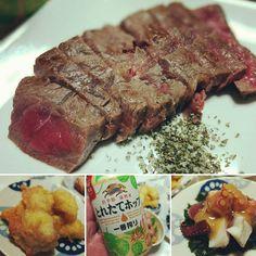 みすじのステーキで ( ω )っカンパイ あとはタコとかイカとか  #ビールクズ #ビール #ステーキ #お肉 #とれたてホップ #beer #dinner #cheese #beefsteak #kirin