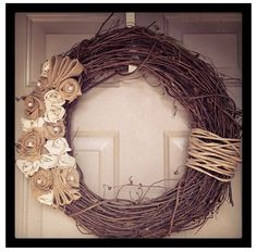 Burlap and Pearl Grapevine Wreath by riccialexisdesigns on Etsy. , via Etsy.