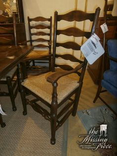 Early to mid-19th c. Provincial French ladder back chair. The shape of the scrolled ladder back slats and delicately carved arms are characteristic of furniture from the Southwest region of France. Set of 10. $4100 appraisal.