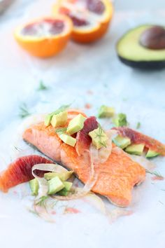 salmon with fennel, blood orange, and avocado