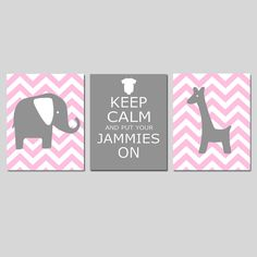 Nursery Art Trio  Chevron Elephant and Giraffe  Keep by Tessyla, $55.00