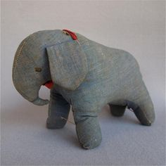 Love the blue! Amish or Mennonite Toy Elephant Made of Early Denism