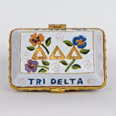 Officially licensed Delta Delta Delta, handcrafted, 24k gold plated cloisonne - www.KittyKeller.com