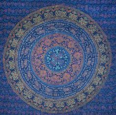 Enhance the good vibes and zen style of your decor with the traditional elephant mandala block print tapestry!  Mandalas represent a sacred geometry that will bring positive energy to your space, as well as brighten up your walls! Available in a variety of colors, This queen-sized wall hanging can also be used as a tablecloth, bedspread, picnic blanket, and more!
