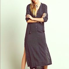 Free People Knock him Down Shirt Dress size XS Free People Knock Him Down shirt dress! Washed black, it has slits on both sides of dress, comes to your ankles. Worn once, perfect condition! Super cute with or without accessories!!! Free People Dresses Maxi