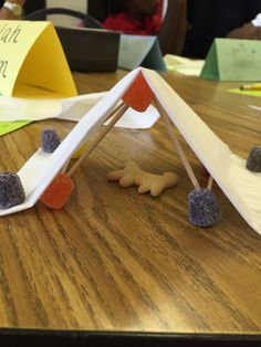 STEM activity I created to go with camping theme.build a tent for an animal to rest in using tooth picks, gumdrops, a tissue and an animal cracker! Students loved this! Camping Activities, Camping Crafts, Stem Activities, Kid Crafts, School Themes, Classroom Themes, Classroom Camping Theme, Preschool Camping Theme, Preschool Ideas