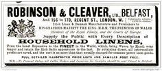 Original - Anzeige / Advertise 1903 : (ENGLISH) ROBINSON & CLEAVER BELFAST  120 x 50 mm