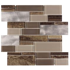 Shop allen + roth Laser Contempo Beige Mixed Material (Glass and Metal) Mosaic Linear Indoor Only Thinset Mortar Wall Tile (Common: 12-in x 13-in; Actual: 11.75-in x 11.75-in) at Lowes.com