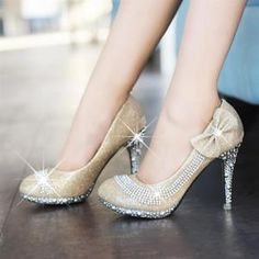 $14.75 Korean princess single shoes nightclub ultra-high-heeled shoes diamond wedding shoes women shoes bridal shoes bridesmaid shoes red golden