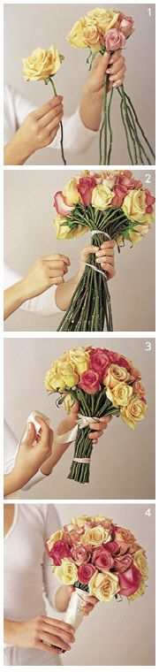 When this method got chic, many florists wanted to shoot themselves because it's so easy. Here the key is to hold the flowers in your hand and continue to rotate as you place each flower into the right spot.