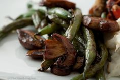 Balsamic Glazed Green Beans and Cremini Mushrooms- ## This was delicious 1/12/13 dw. Served with Cauliflower Gratin with parmesan and nutmeg and Roast Sticky chicken Rotisserie style... Yummy!
