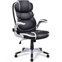 Giantex Office Desk Chair, High Back Executive Office Chair with Adjustable Armrest and 360 Rotation Wheels PU Leather Black Executive Chair for Women Men Adults Office Gaming Chair, Cool Office Desk, Swivel Office Chair, Executive Office Chairs, Ergonomic Office Chair, Swivel Recliner, Leather Recliner, Siege Gaming, Comfortable Office Chair