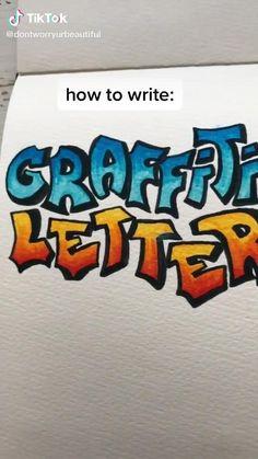 Bullet Journal Writing, Bullet Journal Aesthetic, Bullet Journal Ideas Pages, Bullet Journal Inspiration, Hand Lettering Tutorial, Hand Lettering Alphabet, Art Drawings Sketches Simple, Journal Fonts, Graffiti Lettering