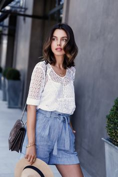 VivaLuxury - Fashion Blog by Annabelle Fleur: FEELING BLUE - PAUL & JOE cotton-silk high-waisted shorts & lace top | AQUAZZURA Saharienne sandals | MARC JACOBS suede Trouble bag  | ESTELLE DEVE Dawn ring set & Ilona ring set | GOLD PHILOSOPHY solar ring & milky way ring  July 18, 2015