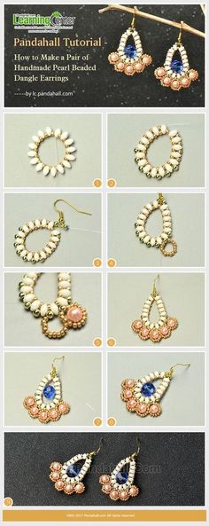 Pandahall Tutorial - How to Make a Pair of Handmade Pearl Beaded Dangle Earrings