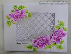 I have made two more cards with the Altenew Peony Scroll stamp set. One is very clean and simple, and the other is a little more fancy.   ...