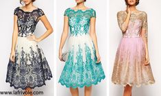 lace midi skater prom dress with boat neck in green turquoise navy and pale pink gold