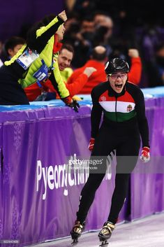 Shaolin Sandor Liu of Hungary celebrates winning the gold medal during the Short Track Speed Skating Men's Relay Final A on day thirteen of the PyeongChang 2018 Winter Olympic Games at Gangneung Ice Arena on February 2018 in Gangneung, South Korea. 2018 Winter Olympic Games, Pyeongchang 2018 Winter Olympics, Speed Skates, February 22, Celebs, Celebrities, Hungary, South Korea, Skating