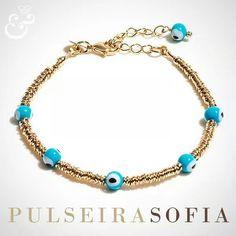 Compre aqui: www.sophiejuliete.com.br/estilista/nandabordon  Pulseira, semi joia, olho grego, murano, banhado a ouro, fashion, acessorios, moda