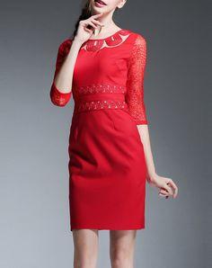 #AdoreWe #VIPme Sheath Dresses - ElaCentelha Sexy Sheath Plain Crew Neck 3/4 Sleeve Midi Dress - AdoreWe.com