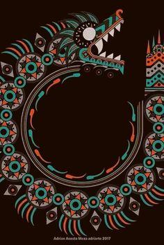 13 Geniales diseños prehispanicos para tu móvil | Los diseños de nuestra cultura prehispánica son impresionantes, tienen una calidad máxima y muchos de ellos aún no tienen explicación. #méxico #diseñografico #fondosdepantalla #azteca #colores #quetzalcoatl #ciudadesenmexico Arte Sci Fi, Psy Art, Aztec Art, Mesoamerican, Chicano Art, Aztec Designs, Mexican Art, Psychedelic Art, Fantasy Art