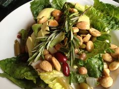 Avocado Almond Salad with Provencal Fried Almonds. Perfect for #Bastille Day