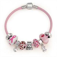 Breast Cancer Awareness Pink Leather Dangle Charm Heart Bracelet