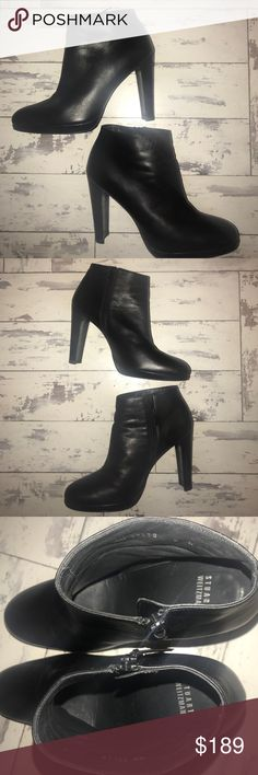 Stuart Weitzman Leather booties ! Perfect condish! Stuart Weitzman leather booties. Like brand new ! Worn two times! Almost perfect condition. No scuffs. 4 in a half inch heel. These are a beauty ! Stuart Weitzman Shoes Ankle Boots & Booties