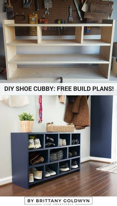 Cat Food Storage Build a shoe cubby - Today I'm sharing how to build a shoe cubby with free plans! A DIY shoe cubby is the perfect way to add functionality and storage to an entryway or space. Shoe Storage Drawers, Shoe Cubby, Diy Shoe Storage, Diy Shoe Rack, Furniture Storage, Storage Ideas, Storage Baskets, Crate Storage, Diy Shoe Organizer