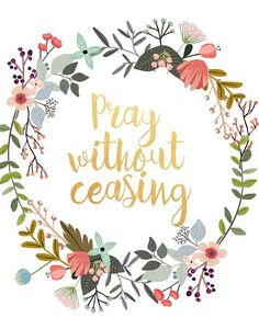 Bible Verse Print Pray Without Ceasing by PaperStormPrints on Etsy