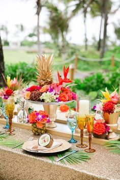 63 Bold And fun Tropical Bridal Shower Ideas Even if you aren't going to get married on a tropical island, you can always use this colorful and fun theme for your wedding and of course for your . Tropical Wedding Decor, Tropical Bridal Showers, Tropical Home Decor, Tropical Weddings, Hawaiian Party Decorations, Wedding Decorations, Decor Wedding, Estilo Tropical, Tropical Style