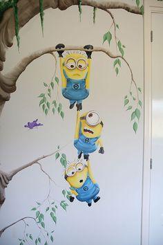 Minion Painting, Minion Drawing, Minion Art, Simple Wall Paintings, Creative Wall Painting, Wall Painting Decor, Disney Mural, Disney Art, Cute Cartoon Drawings